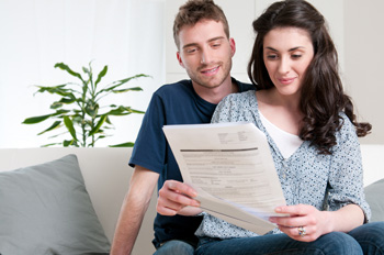 Couple with rental papers